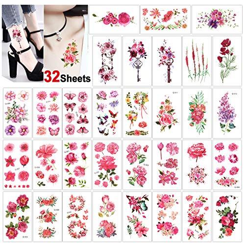 Konsait 32 fogli fiore tatuaggi temporanei per adulti donne, impermeabile tatuaggio temporaneo tattoo adesivi mano collo polso