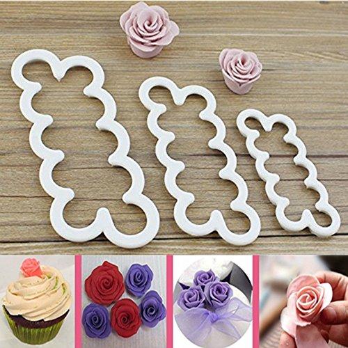mpaste Blumen Die einfachste Rose Ever Cutter Ausstechformen, Set von 3 (Großhandel Kuchen-boxen)