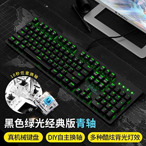 Vaevancom Game Machine Keyboard Grüne Achse Schwarze Welle Retro Schreibmaschine Runden Schlüssel, Grüne Achse