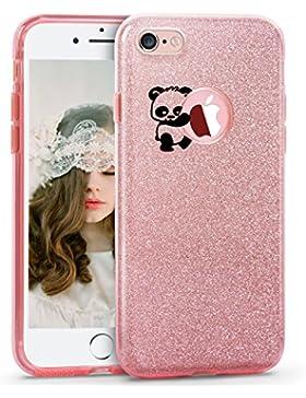 Qissy® Cover iPhone SE 5 5S la copertura di scintillio TPU copertura Glitter Paper PP Panda azienda mele