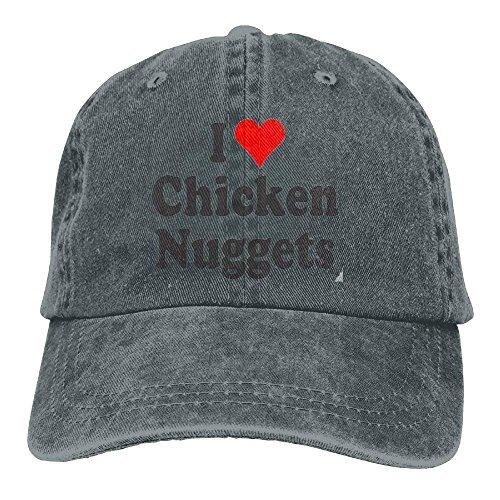 HENBEERS I Love Chicken Nuggets Denim Hat Adjustable Female Plain Baseball Hat
