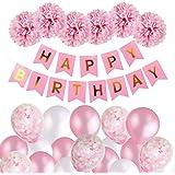 Födelsedagsdekorationer flickor, grattis på födelsedagen flaggor banderoll ballonger set med servettpapper pompoms och rosa b