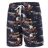 Srizgo Badeshorts Herren Sommer Badehose Männer kurz Beachshorts Boardshorts Bademode für Strand und Wassersport (EU L, Schwarz/Orange)