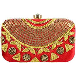Tooba Handicraft Party Wear Hand Embroidered Box Clutch Bag Purse Potli For Bridal, Casual, Party , Wedding ( red sequence necklace 6x4)