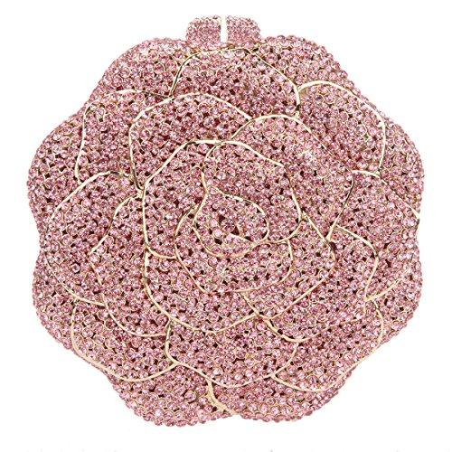 Bonjanvye Studded Rose Evening Purse Crystal Rhinestone Floral Clutch Bag AB Gold Pink