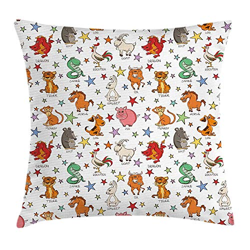 Boy's Room Throw Pillow Cushion Cover, Twelve Funny Chinese Zodiac Animals Signs and Stars Colorful Astrology Themed, Decorative Square Accent Pillow Case, 18 X 18 inches, Multicolor