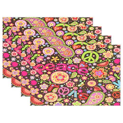 BIGJOKE Platzsets, Peace-Zeichen Blumen Platzsets, Rutschfest, waschbar, hitzebeständig für die Küche, Multi, 4