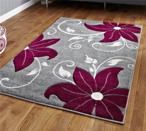 Think Rugs Verona OC15 Gris/Violet – 060 x 120 cm réalisé en 100% polypropylène Machinecm Fait Floral Chaleur Ensemble Fil Tapis
