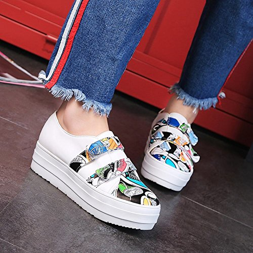 Mee Shoes Damen bequem Klettverschluss Durchgängiges Plateau Pumps Mehrfarbig