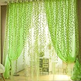 Mikolot Pastoral Willow Floral Window Curtain Bedroom Living Room Decor(Green)