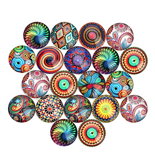 ULTNICE 20pcs Mosaic Printed Glass Cabochons Half Round Dome Cabochons for Jewelry Making