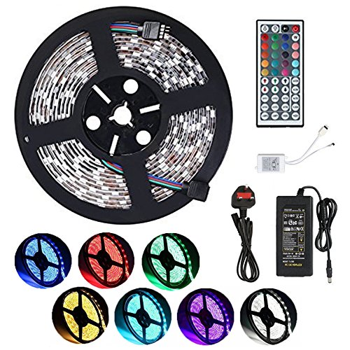 Wasserdicht IP65 LED Strip, LED Streifen, LED Band, 5M 5050 150 LED SMD (30 LED/Meter) RGB Vollfarbe+ 44 Key Fernbedienung+Netzteil 12V 8A + Empfänger. Versorgungsteil für Hauptinnen dekoration