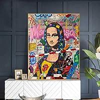 Toile Tableau 30x50CM sans Cadre Mona Lisa Street Graffiti Art Drôle sur Le Mur Art Photo pour Salon Décor À La Maison
