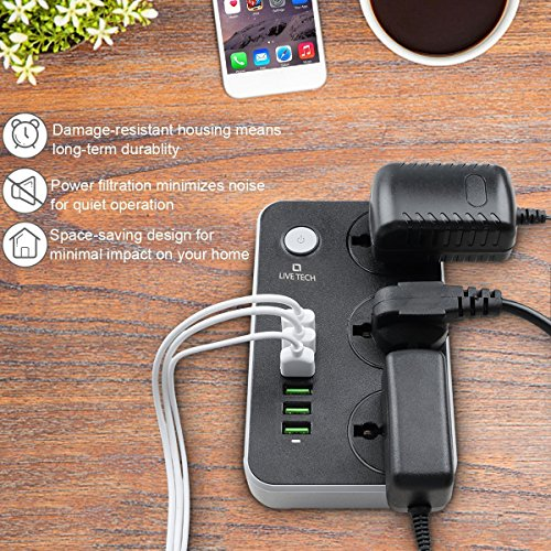 Live Tech PS06 with 6 USB 3 Universal Sockets 3.4 A Smart Spike Power Strip Auto-ID USB with Extension Cord with USB Port and Surge Protector Ports with Indicator,2 Meter Cable Length (Black) Image 4