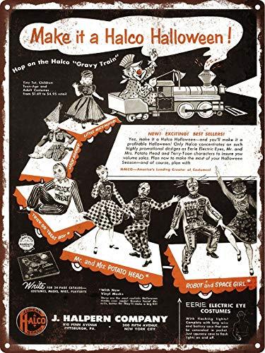 Halco Halloween Costumes Mr.Potato Head Train Metal Sign Repro 9x12 ()