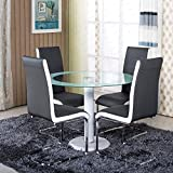 Schindora® Stunning Glass Round Dining Table Set With 4 Grey Faux Leather Chairs