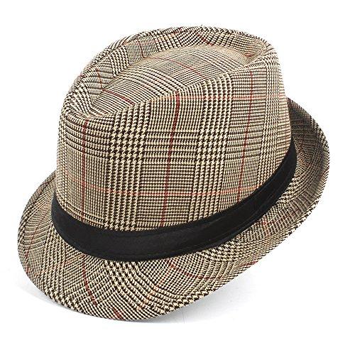 XXY Herrenmode Baumwolle Plaid Fedora Hut Für Papa Gentleman Sun Homburg Hut Größe 58 CM (Farbe : Tan, Größe : 58 cm) -