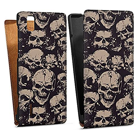 Huawei Ascend P2 Case Protective Cover Wallet Case Book Style Skull Evil Gothic