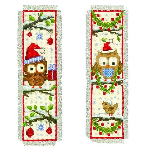 Vervaco - Segnalibri in tela AIDA, motivo gufi con cappellino da Babbo Natale, set da 2 pezzi