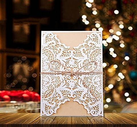 50pcs Wedding Bridal Shower Invitation Cards DIKETE® DIY [Floral Lace