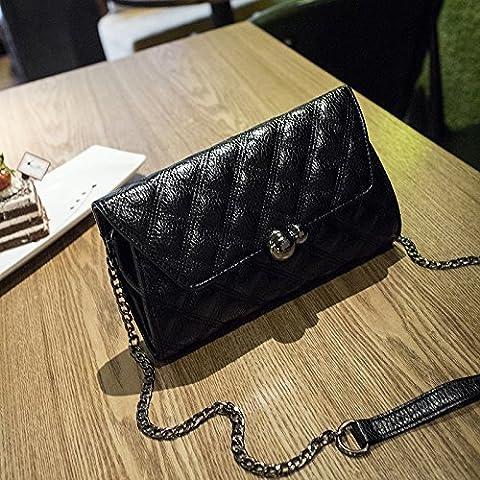 Busta di portafoglio borsa moda catena-bloccato spalla Messenger bag ladies borsa in pelle bianco nero rosso , black