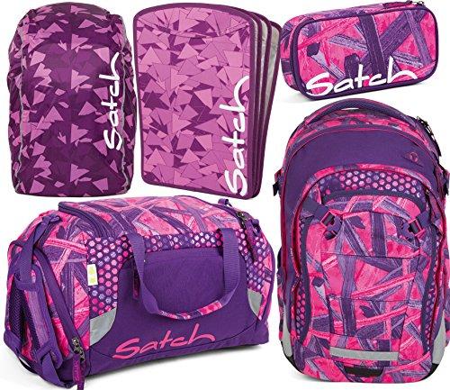 Preisvergleich Produktbild satch match Candy Lazer 5er Set Rucksack,  Sporttasche,  Schlamperbox,  Heftebox & Regencape Lila