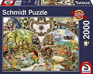 Schmidt Spiele Puzzle 58362exóticas Mapa del Mundo, 2000Piezas Puzzle