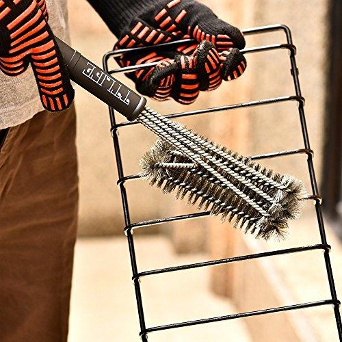 TTLIFE Guantes de Cocina para Horno, Barbacoa y Parrilla Guantes de Nomex y Kevlar Resistente al calor hasta 932°F( 500ºC) Flexibles/ Transpirables/ Lavables Permiten cocinar durante mucho tiempo a Altas Temperaturas- 1 Par (largo) - 5