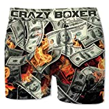 Crazy Boxer 20 Top Design's Herren Boxershort/Retroshort Fun-Edition, MEGA-Designs (M/5/48, Burning Dollars)
