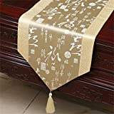 Shopping- Classic Table Runner Couverture Tissu Brocade Table basse Chinois Américain Continental Moderne (couleur : Jaune clair, taille : 33*300cm)