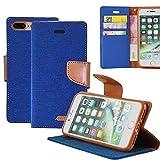 iPhone 8 / 7 Plus Hülle Leinwand Flip cover Schutz [Magnetische Verschluss] REXANG [Brieftasche und Kartenslots] Bookstyle Tasche [mit Stand Funktion] Leder TPU Taschen Schalen für iPhone 7 / 8 Plus