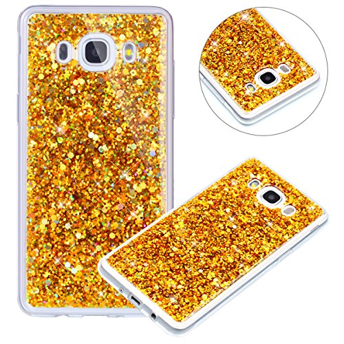 Surakey Compatible avec Coque Samsung Galaxy J7 2016,Paillette Strass Brillante Glitter Transparent Silicone TPU Souple Housse Etui Bumper Case Cover de Protection pour Galaxy J7 2016,Or