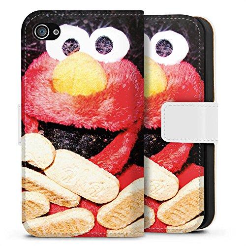 Apple iPhone X Silikon Hülle Case Schutzhülle Oliver Rath Elmo Sesamstraße Sideflip Tasche weiß