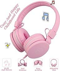 Kopfhörer Kinder,Emooqi Kleine Kinder Kopfhörer Kopfhörer Kinder 85dB Volume Limiting Wired Faltbare Justierbarer Kopfhörer für alle Smartphones Computer iPod iPhone iPad MP3 Tablet (Pink)