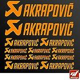 Brett 12Sticker Aufkleber Akrapovic Auspuff Anlage–Orange Matt–Sticker, selbstklebend, Motorrad, Bike, Kit, Deco, Tuning, Decal, gt-design, GT Design, gtdesign