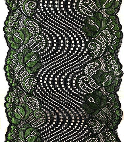 Yalulu 5 Yards Elastische Spitze Trim Blume Spitzenband Trim DIY Kunsthandwerk Weich Wunderschöne Spitzenbordüre Nähen (Grün) -