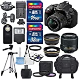 Nikon D5300 24.2MP CMOS Digital DSLR Camera (Black) & Nikon 18-55mm F/3.5-5.6G DX VR II Lens + HD 52mm Wide Angle Lens & HD Pro 52mm Telephoto Lens + Total Of 48 GB SDHC Class 10 & Deluxe Bundle