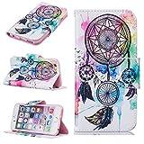 Slynmax Coque iPhone 6/6s, Housse en PU Cuir Plumes colorées Motif Peint Mode Étui...