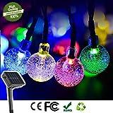 LED Solar Lichterkette Kristall Kugel, DOTBUY Außen Garten Deko Wasserfest 8 Modi Außerlichterkette 20Led für Terrasse Hof Innen Haus Weihnachtsbaum Feiern etc (Bunt)