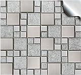 24 stück Fliesenaufkleber für Küche und Bad (Tile Style Decals 24xTP 71 -6in- Sil. Chrome) | Mosaik Wandfliese Aufkleber für 15x15cm Fliesen | Fliesen-Aufkleber Folie Farbe - Mitternachtsblau | Deko-Fliesenfolie für Küche u. Bad (15cm - 24 stück, Grau)