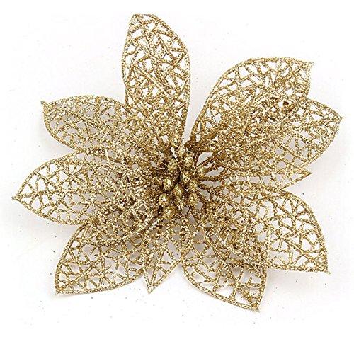 Venkaite 10 pcs artificiale fiori di natale albero di natale ornamenti fiori di abbellimento per casa festa di natale decorazioni, oro