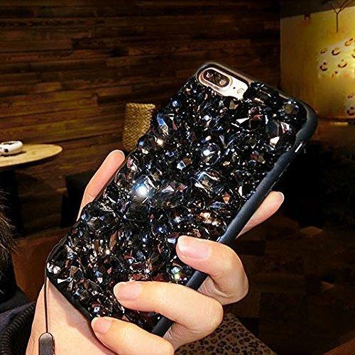 iPhone 8 Plus Coque Silicone Paillettes,iPhone 7 Plus Housse Transparente,Case iPhone 8 Plus Or Glitter Diamant Brillant Paillettes Bling Glitter Housse Ultra Mince Premium Soft Souple Doux TPU Silico Strass Noir