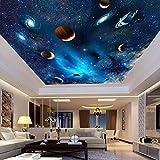 Universum Weltraum Planet Nachthimmel Sterne Fototapete Für Kinder Schlafzimmer Wohnzimmer Deckenwanddekor Benutzerdefinierte 3D Tapete, 200 × 140 Cm