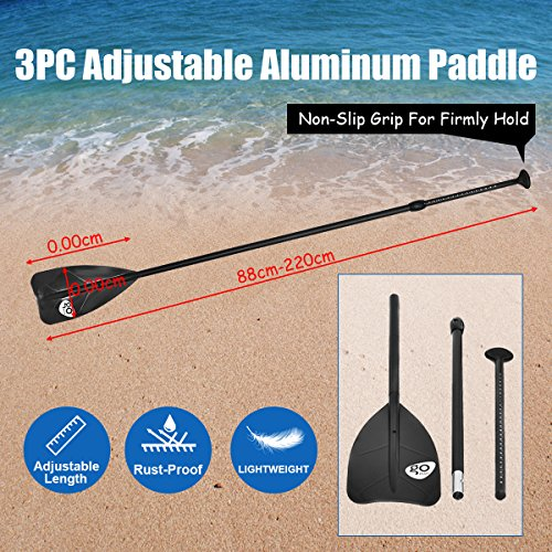 61kOYLGTUpL. SS500  - COSTWAY 10FT/11FT SUP Inflatable Stand Up Paddle Board W/Carry Bag, Repair Kit, Tail Vane, Adjustable Paddle, Hand Pump with Pressure Gauge, Ideal Beginners Soft Surfing Board Kit