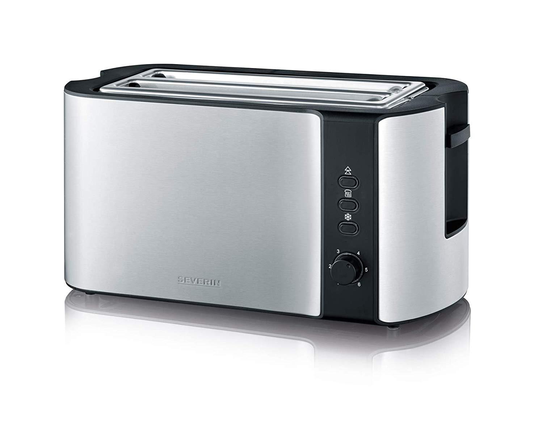 SEVERIN-Automatik-Toaster-Inkl-Brtchen-Rstaufsatz-2-Rstkammern-800-W-AT-2589-EdelstahlSchwarz