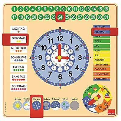 Goula - Reloj y calendario en alemán, material educativo (Diset 51309) de Goula
