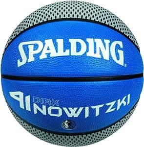 Spalding 3001584011117 Ballon de basketball au nom du joueur de NBA Dirk Nowitzki, taille 7 Bleu/argent