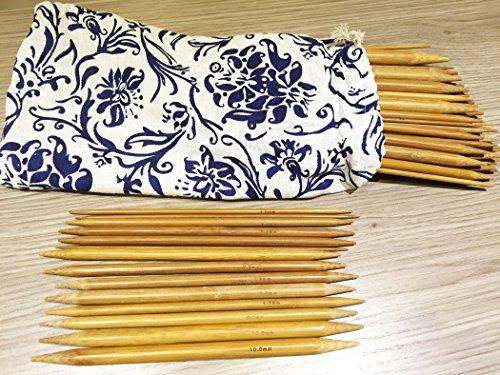 80 Stück 20cm karbonisierte Bambus Stricknadeln (2mm-12mm) doppelt gespitzt mit Hülle - Häkeln by DELIAWINTERFEL -