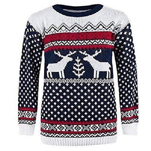 NAZ Fashion Pullover Damen Herren Weihnachten stricken Pullover mit Rentier Retro Pullover MFDEER