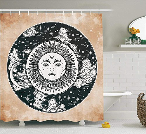 Mucuum Mystic Shower Curtain Ethnic Sun Face in A Circle Motif Esoteric Inner Power of The Cosmos Theme Fabric Bathroom Decor Set mit Hooks Beige Charcoal -
